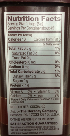 Hershey Cocoa Nutrition Facts PIC